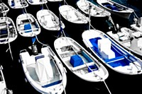 Boats in Mundaka harbour, Biscay, Spain