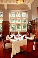 Dining room at luxury Hotel, restaurant, in Cardiff, Wales