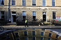 Scotland, City of Edinburgh, Edinburgh. Buildings in Abercromby Place reflected in the roof of a car.