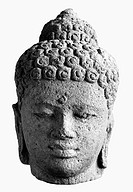 BUDDHA, 9TH CENTURY.Head of Buddha. Javanese sculpture made from volcanic rock, Sailendra Dynasty, 9th century A.D.