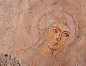 Scene of the Apparition of Our Lady to Cripple Remingarda, by Unknown artist, 12th Century, fresco