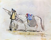 CHINA: CAVALRYMAN, 1860.A Tartar cavalryman near Peking, China, at the time of the Second Opium War. Contemporary watercolor by C. Wingman.