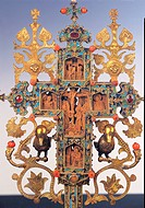 Benedictory cross, by Byzantine Work, 16th Century, carved wood, gold and silver, enamels, coral and pearls, stones