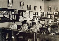 HINE: CLASSROOM, 1917.Art class at the Training School for Deaf Mutes in Sulphur, Oklahoma. Photograph by Lewis Hine, April 1917.