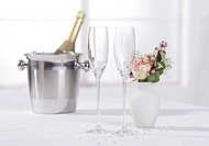 Two champagne glasses with ice bucket