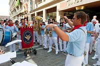 Street music bands, San Fermín street-partying, Pamplona, Navarra Navarre, Spain, Europe