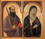 Polyptych with Saints St John the Evangelist, St Romuald, St Paul and Mary, by Segna di Bonaventura, 1298 _ 1331, 14th Century, painting on wooden boa...