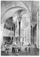 TURKEY: HAGIA SOPHIA, 1852.The new Imperial Tribune (Sultan's Box) seen behind the two columns. Lithograph by Louis Haghe, 1852, after a drawing by Ga...