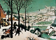 The Hunters in the Snow, by Bruegel Pieter il Vecchio, 1565, 16th Century, oil on panel
