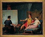 Apelles Painting Campaspe in the Presence of Alexander the Great, by Bagatti Valsecchi Pietro, 1832, 19th Century, tempera on ivory