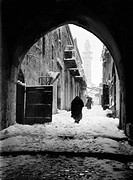 JERUSALEM: WINTER.Location of the eighth station of the cross on the Via Dolorosa in Jerusalem, during a snowy winter, early 20th century.