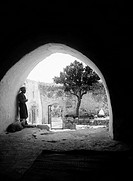 JERUSALEM: COURTYARD.A courtyard at Sharafat, East Jerusalem, where a sheep is to be sacrificed. Photograph, early 20th century