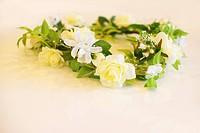 Flower wreath, white background
