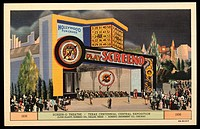 Screen_O Theatre at Exposition. ca. 1936, Texas, USA, 1836, SCREEN_O THEATRE, TEXAS CENTENNIAL CENTRAL EXPOSITION. CLYDE ELLIOTT, SCREENO CO., DALLAS,...