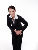 Businesswoman smiling and bowing