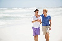 Two men walking on the beach (thumbnail)