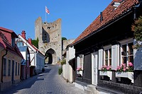 Traditional houses in street of the Hanseatic town Visby, Gotland, Sweden