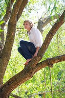 Low angle view of a boy crouching on tree branch