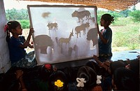 EDUCATION, INDIA. Andhra Pradesh, Rishi Valley. Centre for New Education. _ New approaches to education in India. Children learn through shadow theatr...