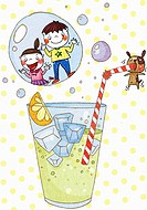 children and cold beverage