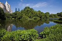 Pond, Central Park South, Manhattan, New York City,  USA