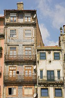 Colourful residential apartment buildings in the old section of Porto, Portugal