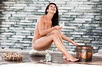 Woman in bikini at a spa