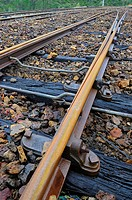 Railway tracks. Mining railway. Huelva province. Andalusia. Spain