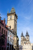 Tyn Church and town hall tower in Old Town Square, Prague, Czech Republic