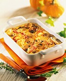 Pumpkin and mushroom cheese_topped dish