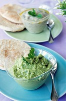 Coriander guacamole and white bean garlic puree