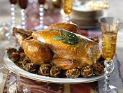 Christmas eve poulard hen with stuffed figs