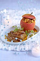 Pan_fried foie gras with cider, aplle stuffed with blood sausage