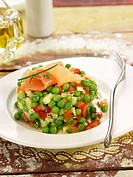 Pea and smoked salmon salad