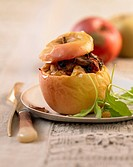 Baked apple stuffed with chicken