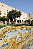 Naples  Italy  Cloister of the church &amp; convent of Santa Chiara