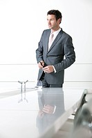 portrait of young businessman in meeting room