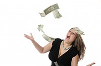 Full figured woman excited about money