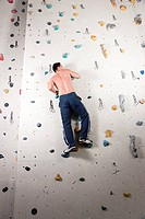 Man at the climbing wall