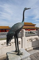 Bronze crane statue, symbol of longevity, located in imperial palace, in front of Hall of Supreme Harmony, Forbidden City, Beijing, China, september