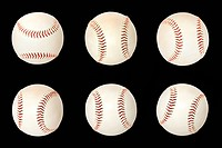 Base balls isolated on black background