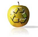 Recycling symbol on apple