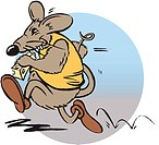 Mouse running with cheese