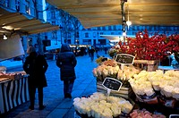 Flower market at night, Paris, France
