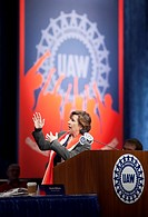 Detroit, Michigan - Randi Weingarten, president of the American Federation of Teachers, speaks at the United Auto Workers bargaining convention