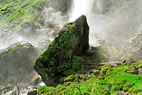 waterfall nearby village of foroglio - bavona valley - canton of ticino - switzerland
