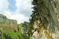mount dreifaltigkeit near lake falensee or fahlensee - alpstein mountain range - canton of appenzell-innerrhoden - switzerland