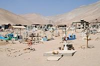cemetery, San Jeronimo, Poconchile village, Atacama desert, Friedhof, Dorf, Wueste, Arica, Norte Grande, northern Chile, Nordchile, Chile, South Ameri...