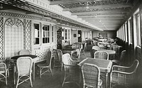 Café Parisien, RMS Titanic. Café Parisien on RMS Titanic, 04/01/1912. Extension to First Class restaurant. The White Liner, built by Harland & Wolff i...