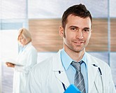 Doctor on hospital corridor